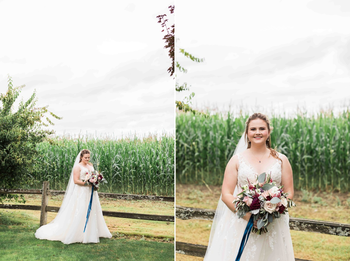 Bride in corn field at Craven Farms in Snohomish. Photographs by Joanna Monger Photography, Snohomish's Best Wedding Photographer.