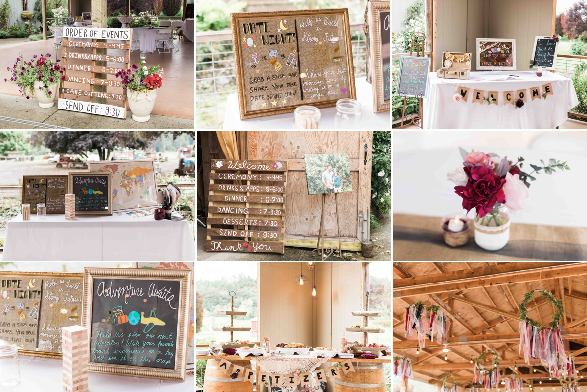 Decorations at Craven Farms in Snohomish. Photographs by Joanna Monger Photography, Award Winning Snohomish Wedding Photographer.