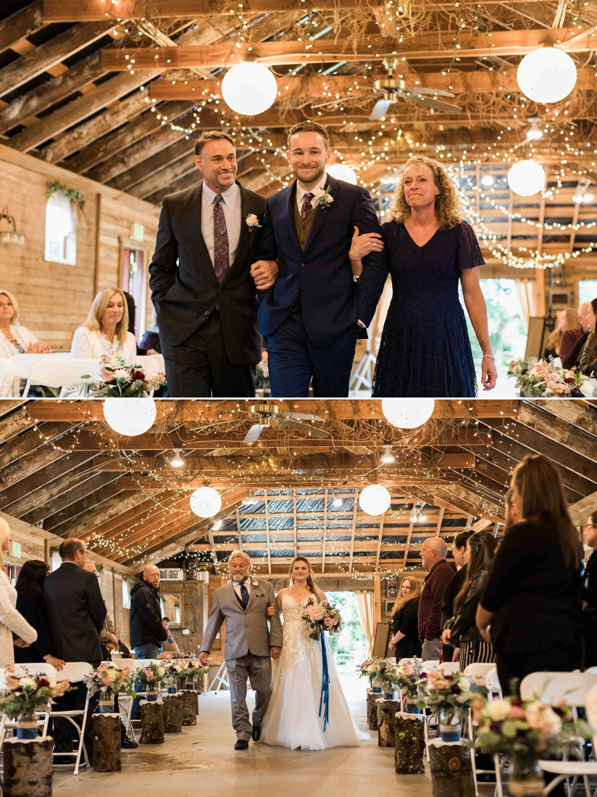 Walking the aisle at Craven Farms in Snohomish. Photos by Joanna Monger Photography, Snohomish and Seattle Wedding Photographer.