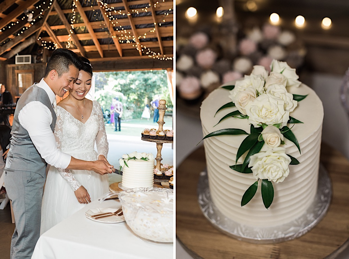Cutting the cake at Craven Farms in Snohomish. Photos by Joanna Monger Photography, Snohomish and Seattle Wedding Photographer.