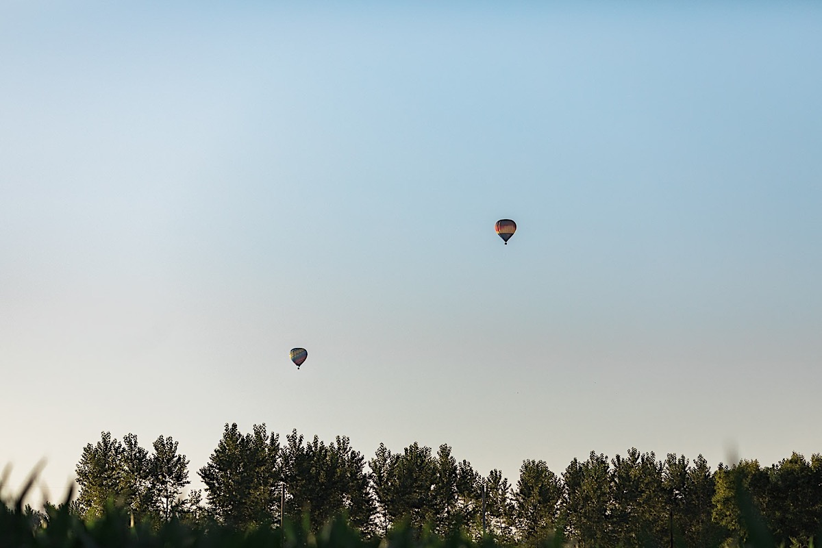 Air balloons in the sky at Craven Farms in Snohomish. Photographs by Joanna Monger Photography, Snohomish's Best Wedding Photographer.