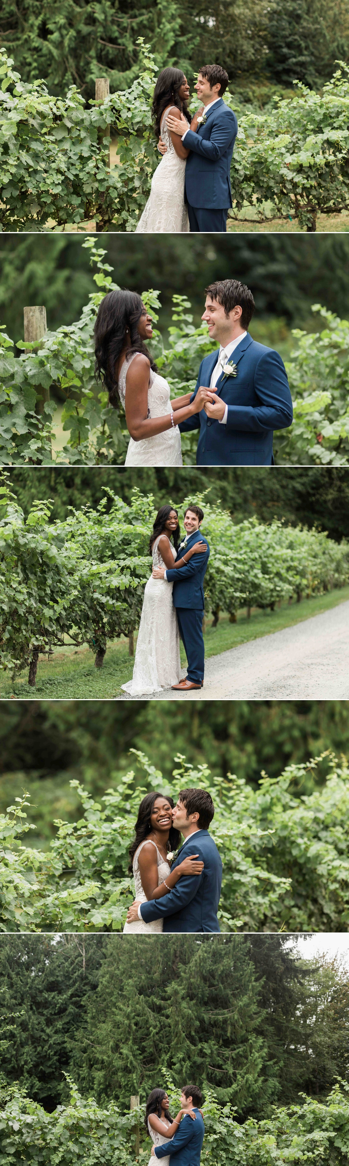 Now man and wife at Green Gates at Flowing Lake. Photographs by Joanna Monger Photography, Award Winning Snohomish Wedding Photographer.