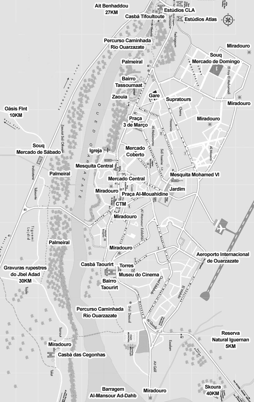 Mapa dos Principais Monumentos de Ouarzazate