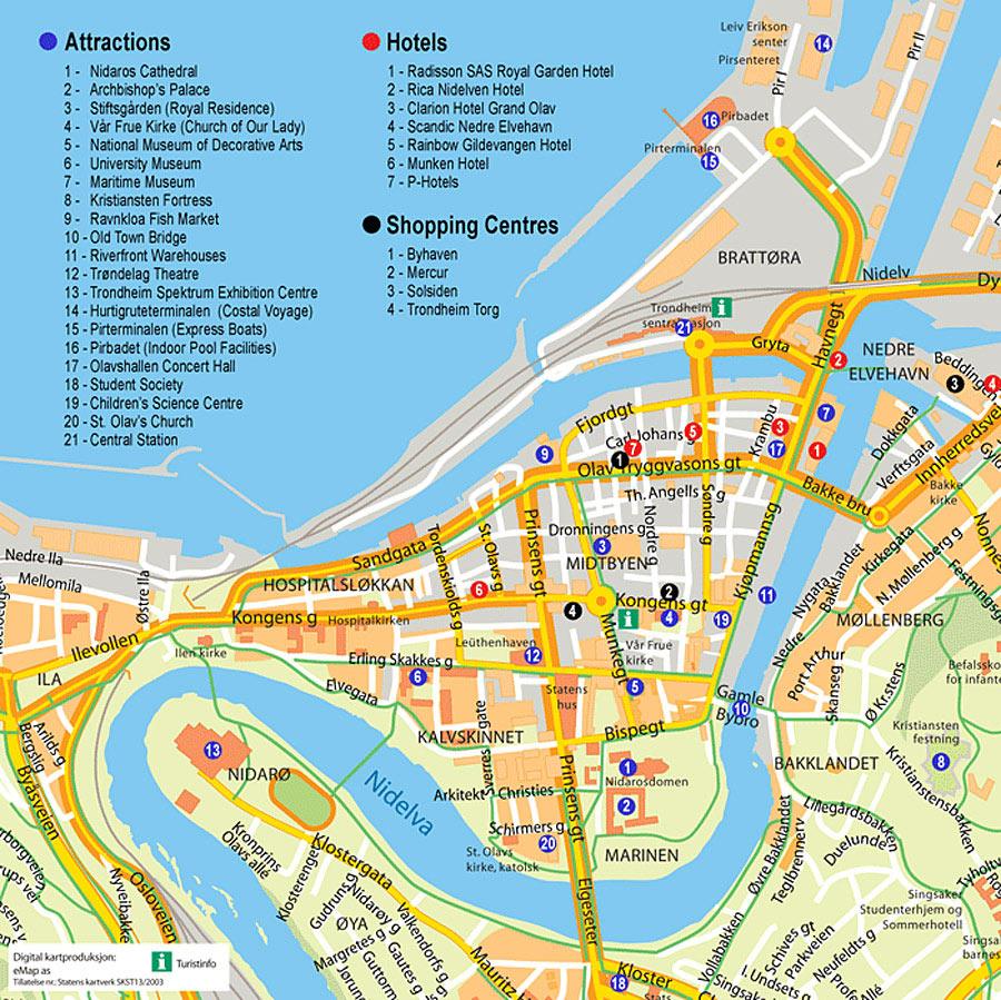 Mapa Turístico de Trondheim, Noruega