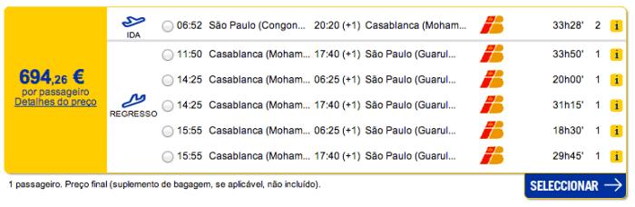 Bilhete avião São Paulo Casablanca em Marrocos