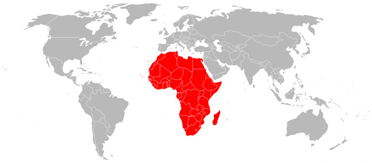 Map of Africa - the African continent