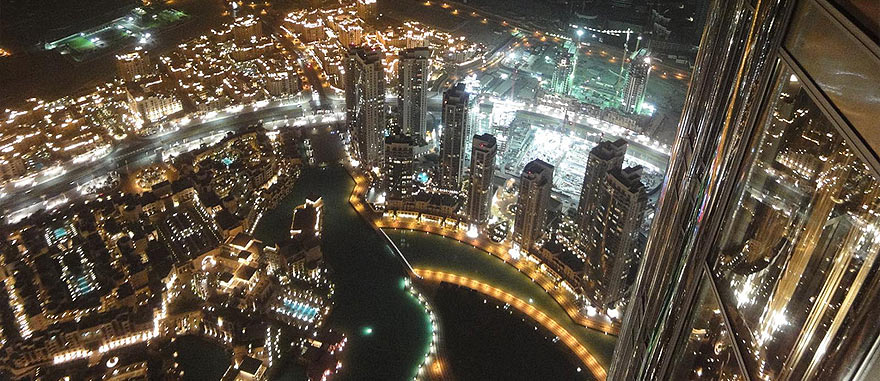 Dubai by night from the top of the 2722 feet Burj Khalifa