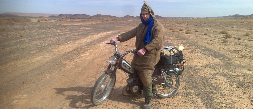 Crossing Sahara Desert with a moped