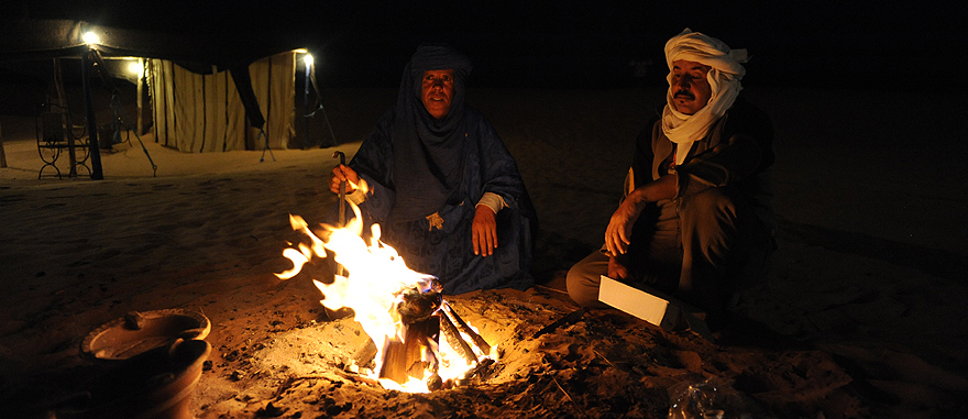 Preparing traditional mint tea with fire - Mind-blowing Sahara Desert Hotel