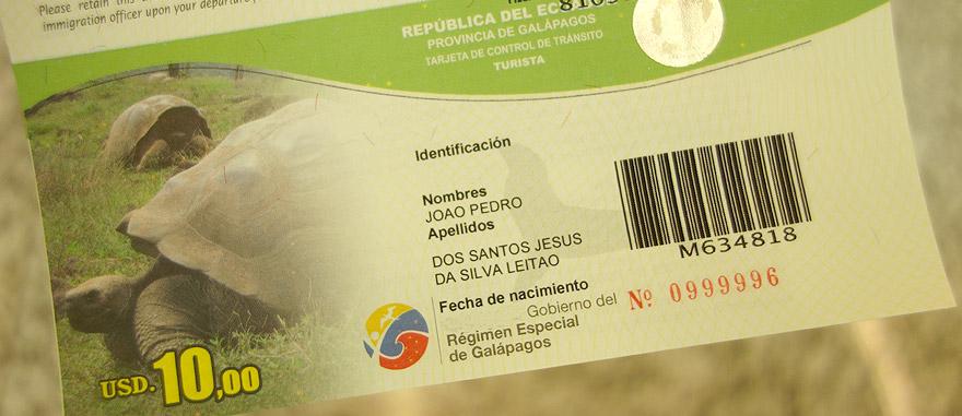 Cartão de controlo de imigração nas Galápagos