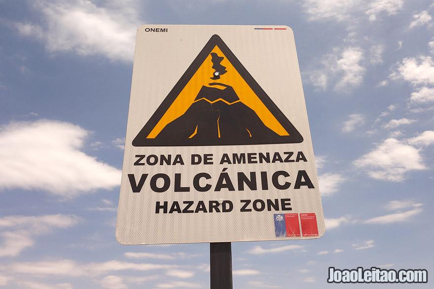 Photo of Atacama Desert Hazard Zone Volcano road sign Chile