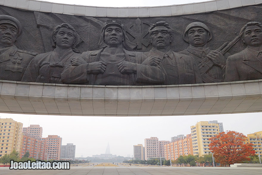 The city of Pyongyang has hundreds of monuments and memorial murals. The mural of the Workers Party Monument if very nice