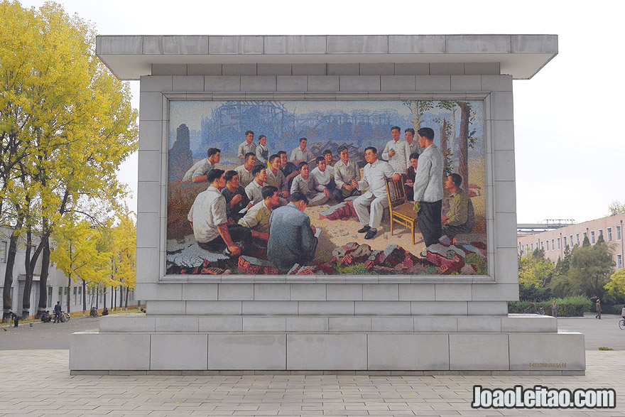 A very beautiful mural in Chollima Steel Factory depicts the DPRK leader Kim Il Sung talking to workers. The actual stone where he sited is still in place.