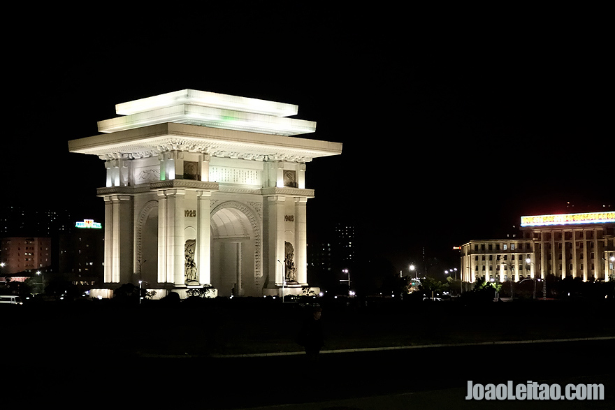 The Triumphal Arch of Pyongyang by night is amazing.