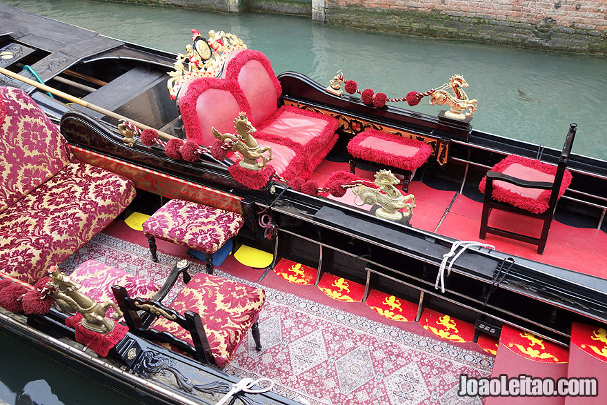 Detail of the decoration of two Venetian gondolas
