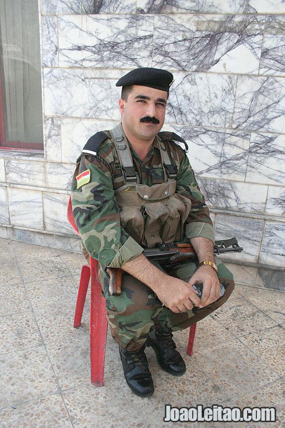 Very friendly Kurdistan border army officer at Ibrahim Khalil border pass with Turkey