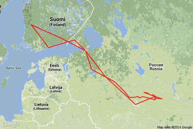 Mapa do Itinerário de carro na Rússia