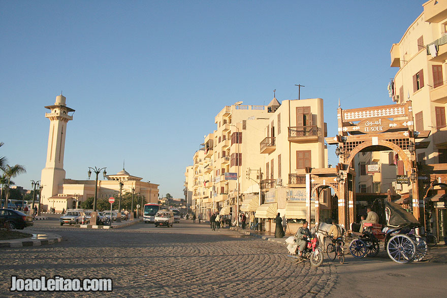 Market and mosque in Luxor City located on the East bank of the Nile