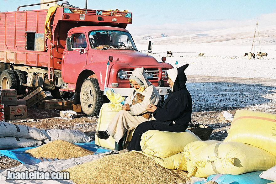 Photo of men selling at Ait Hani market in the High Atlas Mountains, Morocco