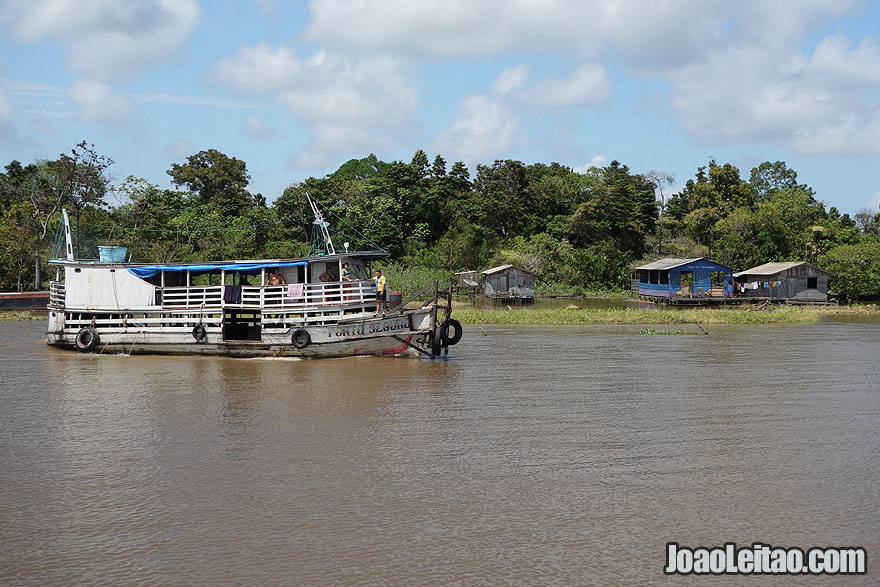 Boat going up the Amazon River