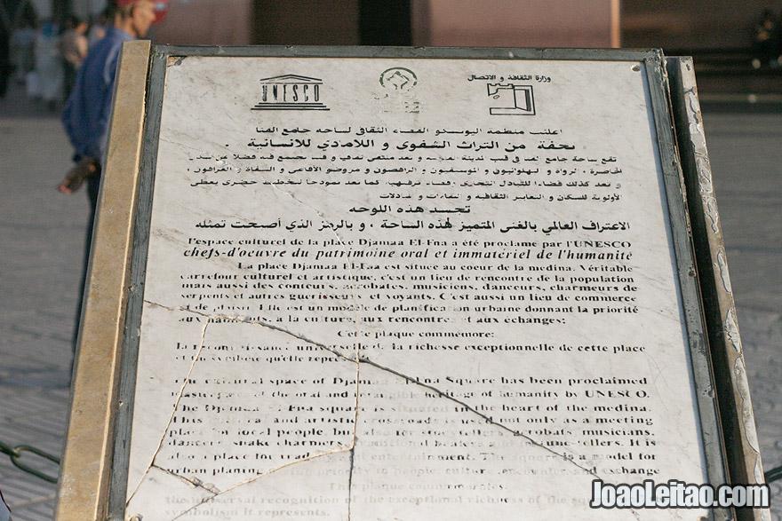 Place Jemaa El Fna UNESCO sign