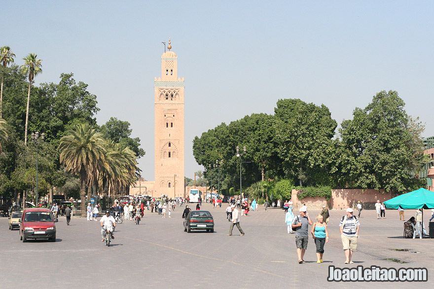 View of the Koutoubia minaret from Djemaa el Fna square