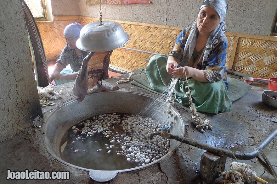 Woman preparing silk in Margilan