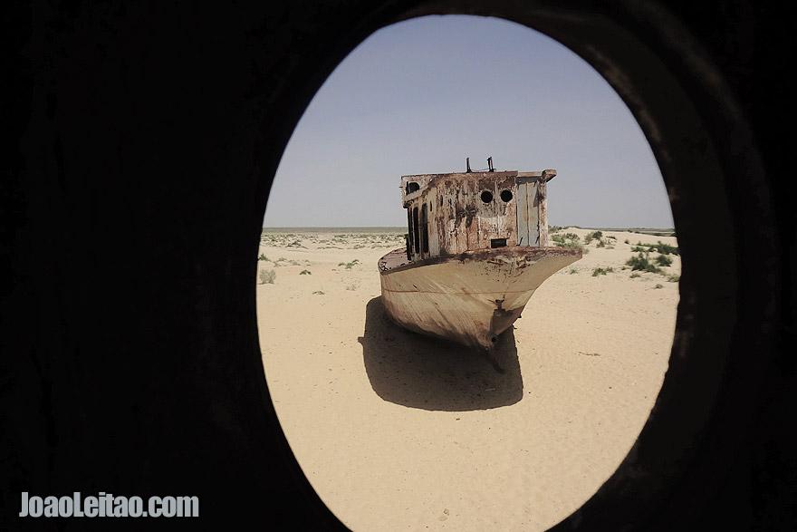 Muynak dried sea front in Uzbekistan