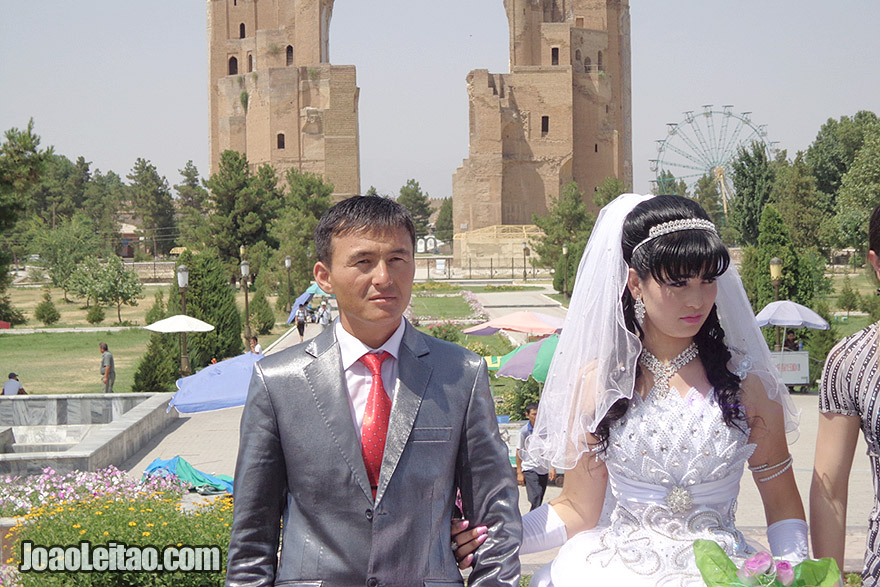 Just married couple in Shahrisabz Timur square