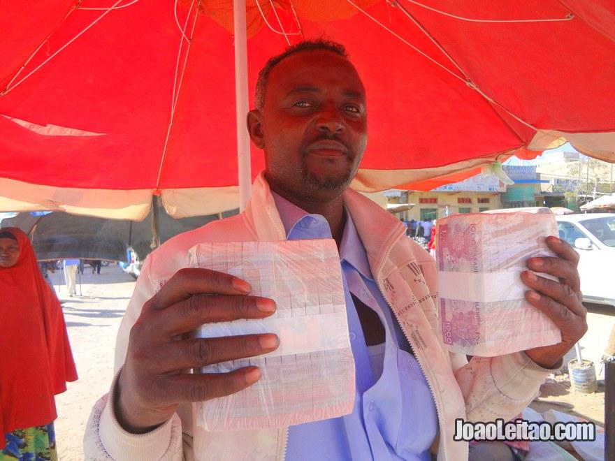 Money dealer in Hargeisa, Somaliland