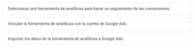 Ordena los tres pasos que se deben dar para habilitar el seguimiento de conversiones en una campaña de aplicaciones de Google.