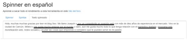 spinner de texto en español