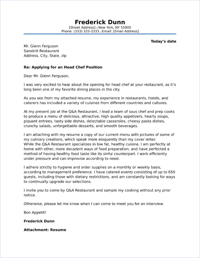 Chefs Cover Letter Example June 2021