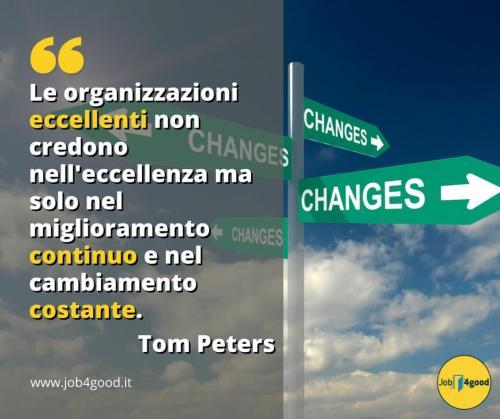 Le organizzazioni eccellenti non credono nell'eccellenza ma solo nel miglioramento continuo e nel cambiamento costante. ~ Tom Peters