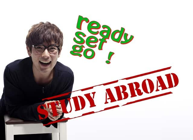 Student is happy because he is going abroad for study.