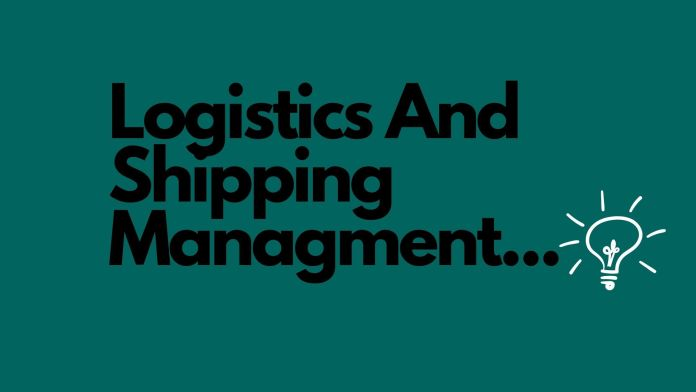 Text words in black logistics and shipping management
