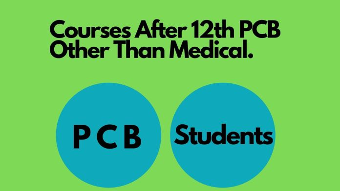 Light green background with black text courses after 12th pcb other than medical along with two blue round circle