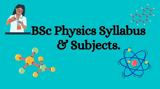 Sky blue color baground along with black text words BSc Physics Syllabus & Subjects.
