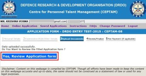 how to apply for drdo ceptam 11
