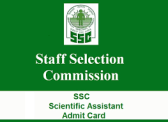 ssc scientific assistant admit card 2017 ssc scientific assistant exam hall ticket/ call letter 2017 staff selection commission scientific asst. exam date