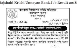 Rajshahi Krishi Unnayan Bank Job Result 2018