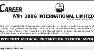 Drug International Limited job circular 2018