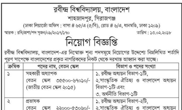 Rabindra University Shahzadpur Job Circular 2018