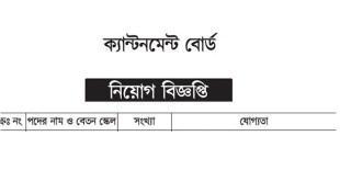 Cantonment Board Job Circular 2018