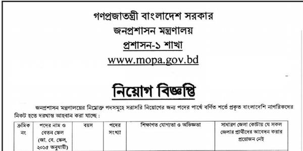 Ministry of Public Administration mopa Job Circular 2019