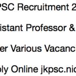 JKPSC Assistant Professor Recruitment 2018 Vacancy