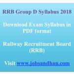 RRB Group D Syllabus 2018 Download Exam Syllabus Pattern Online Test