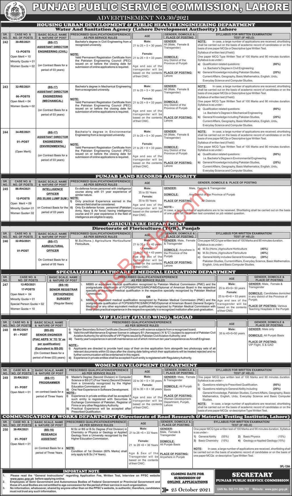 PPSC Jobs Advertisement 2021 | Agricultural Officer & other Latest