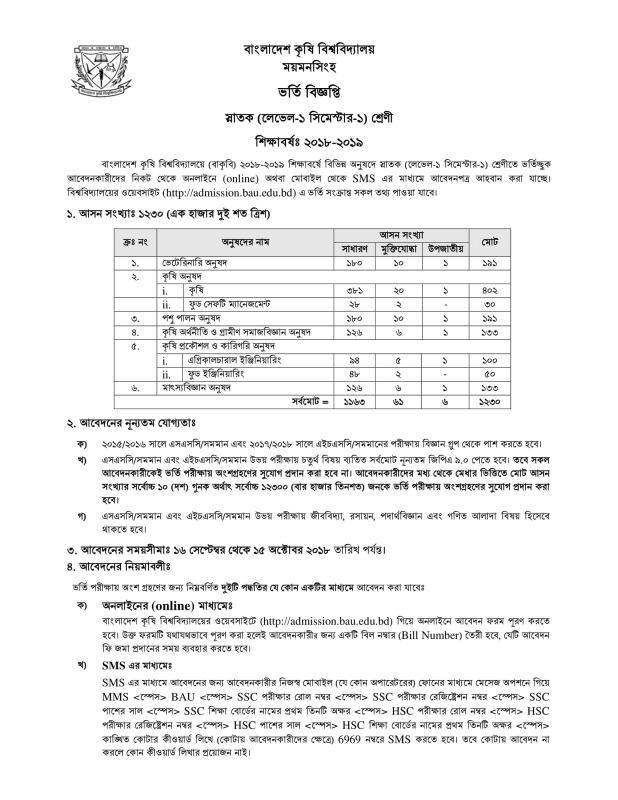 Bangladesh Agricultural University Admission Notice 2018-2019 admission.bau.edu.bd