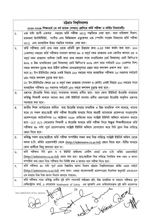 Chittagong University Nirdeshika CU Admission 2018-2019 All Units